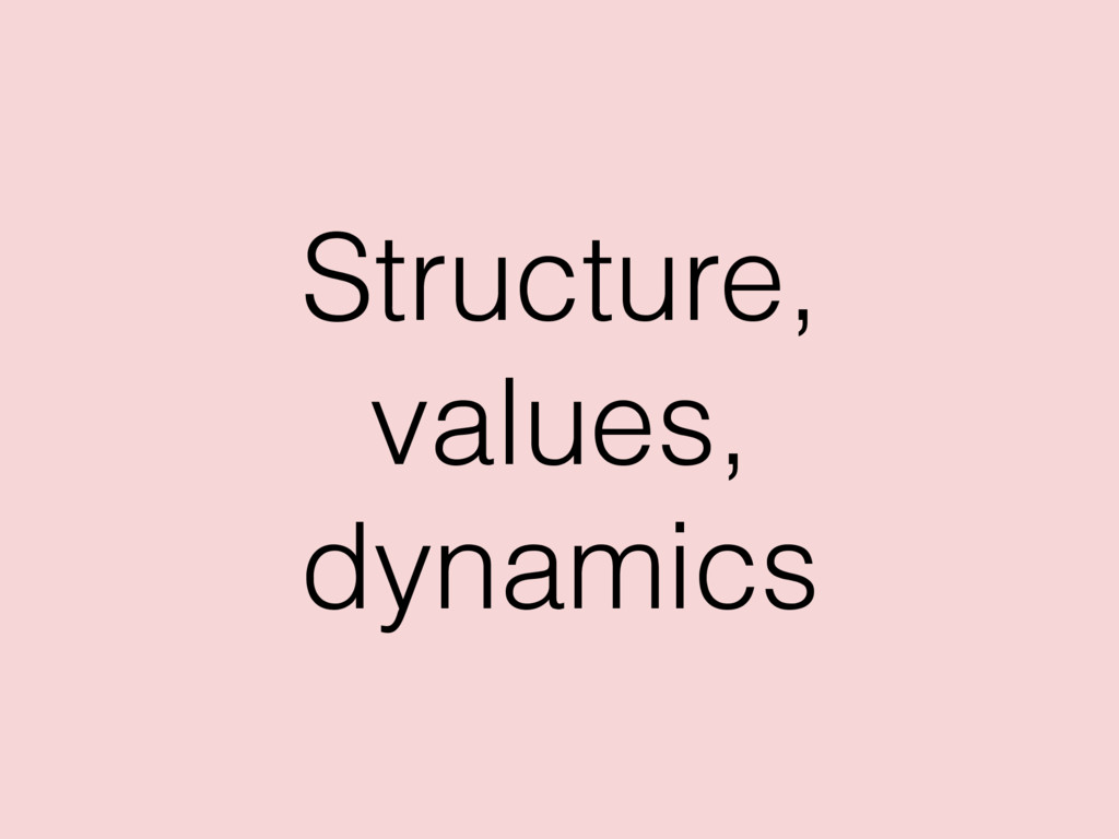 Structure, values, dynamics