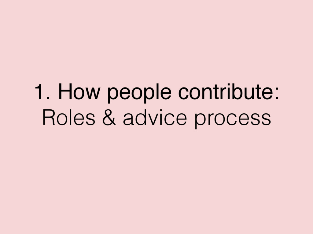 1. How people contribute: Roles & advice process