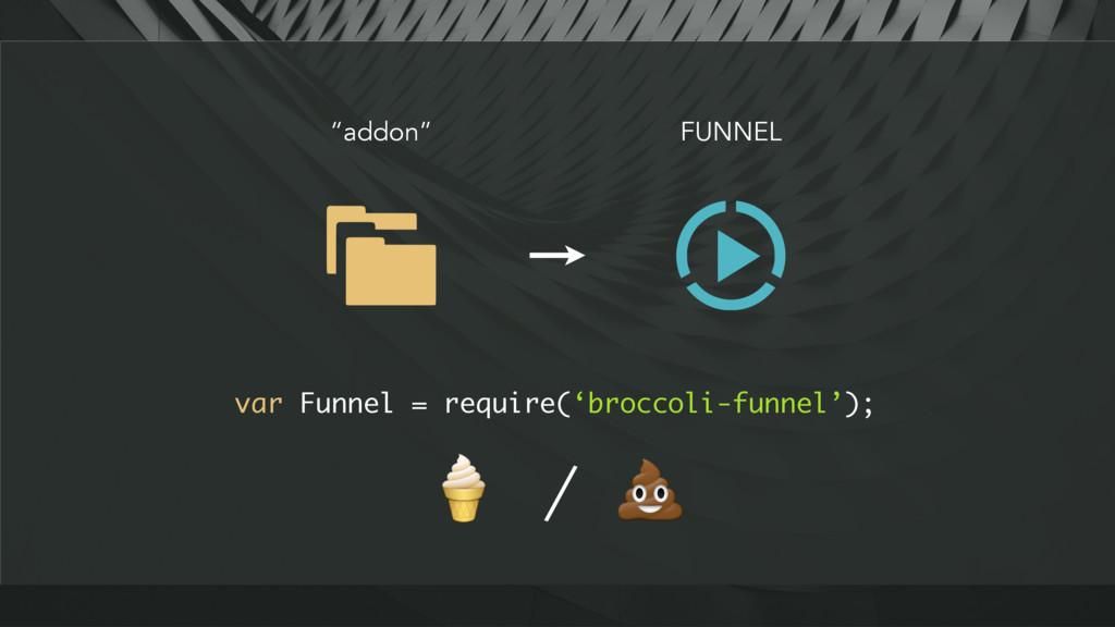"FUNNEL ""addon"" var Funnel = require('broccoli-f..."