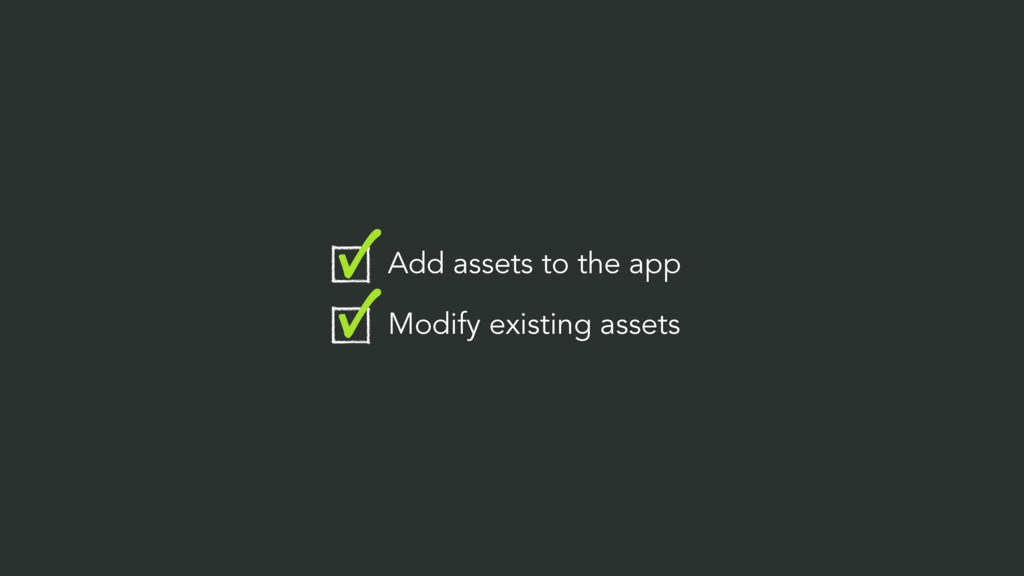 Add assets to the app Modify existing assets