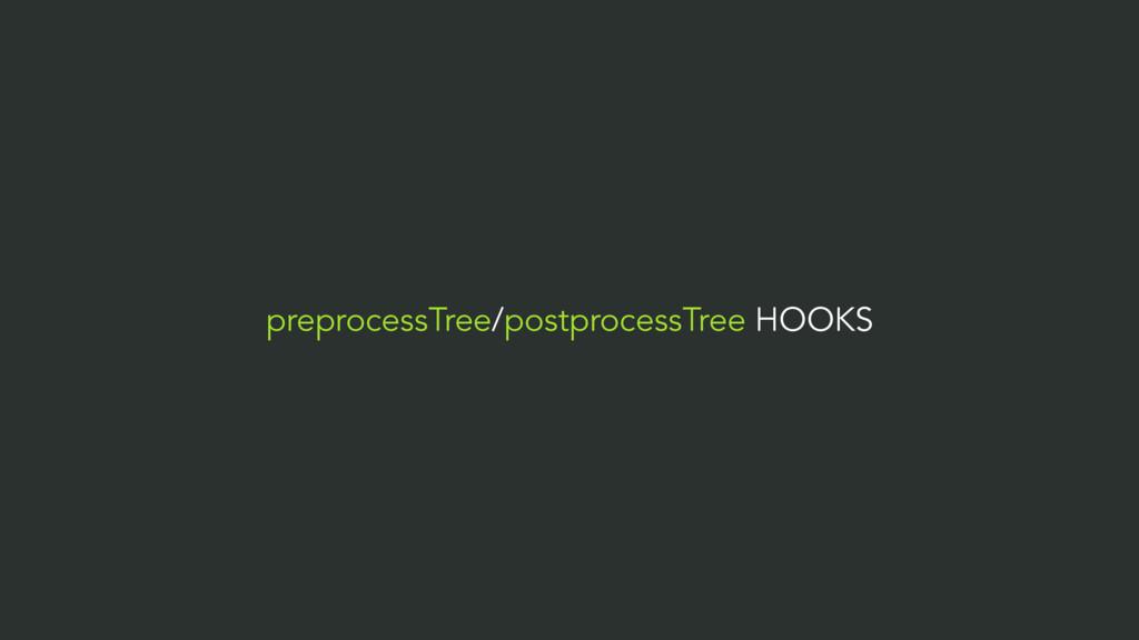preprocessTree/postprocessTree HOOKS