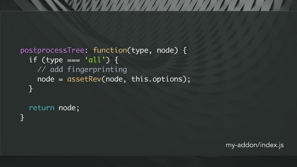postprocessTree: function(type, node) { if (typ...