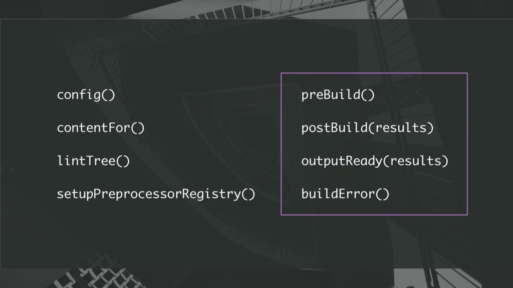 preBuild() postBuild(results) outputReady(resul...