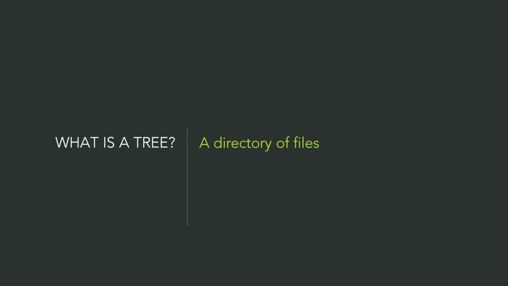 WHAT IS A TREE? A directory of files