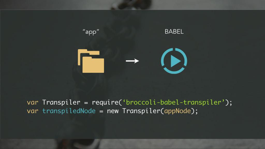 BABEL var Transpiler = require('broccoli-babel-...