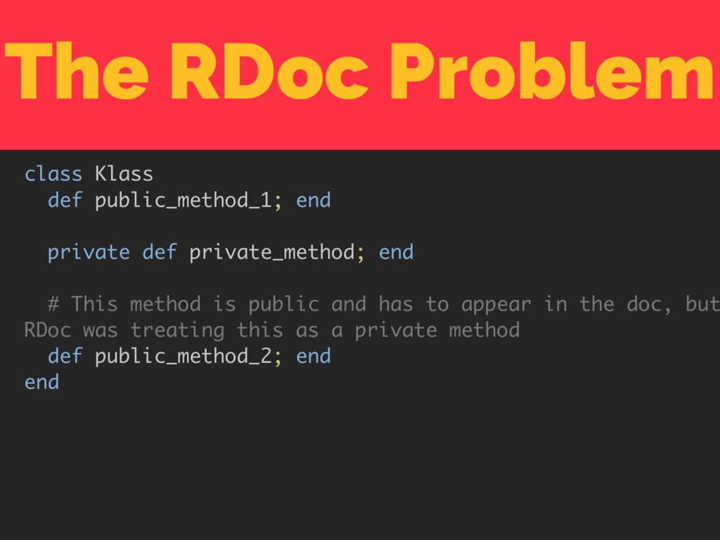 The RDoc Problem class Klass def public_method_...