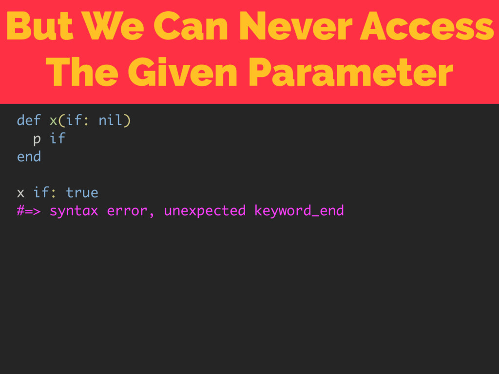 But We Can Never Access The Given Parameter def...