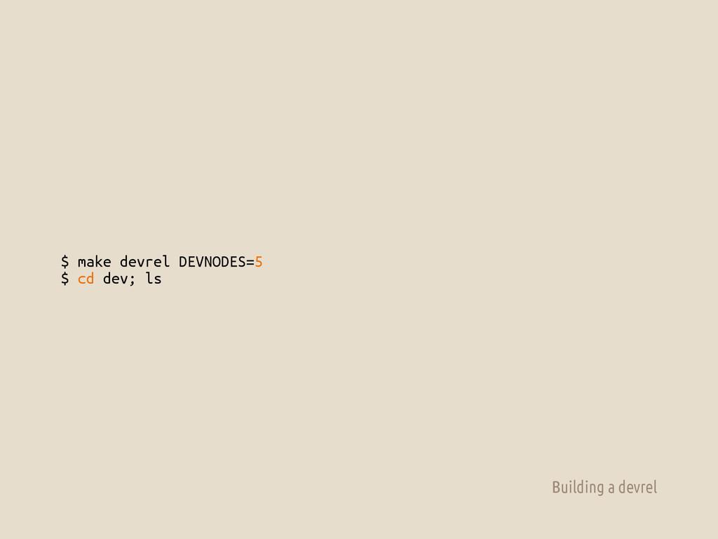 $ make devrel DEVNODES=5 $ cd dev; ls Building ...