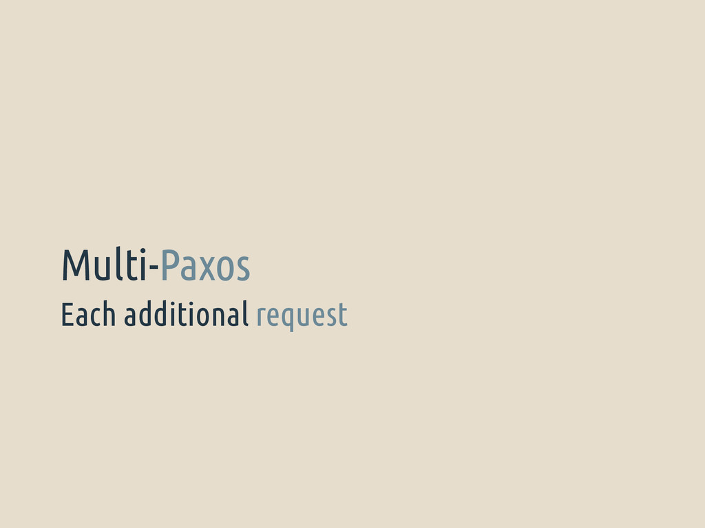 Each additional request Multi-Paxos