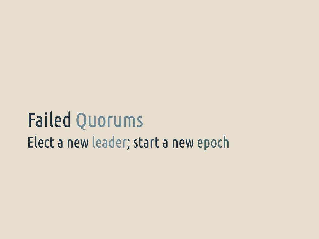Elect a new leader; start a new epoch Failed Qu...