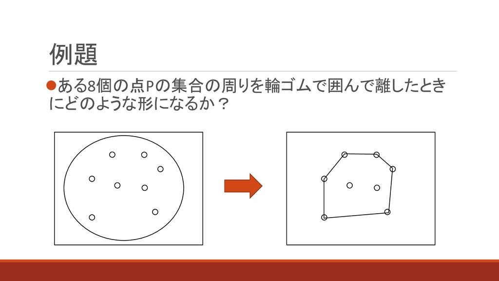 例題 ある8個の点Pの集合の周りを輪ゴムで囲んで離したとき にどのような形になるか?
