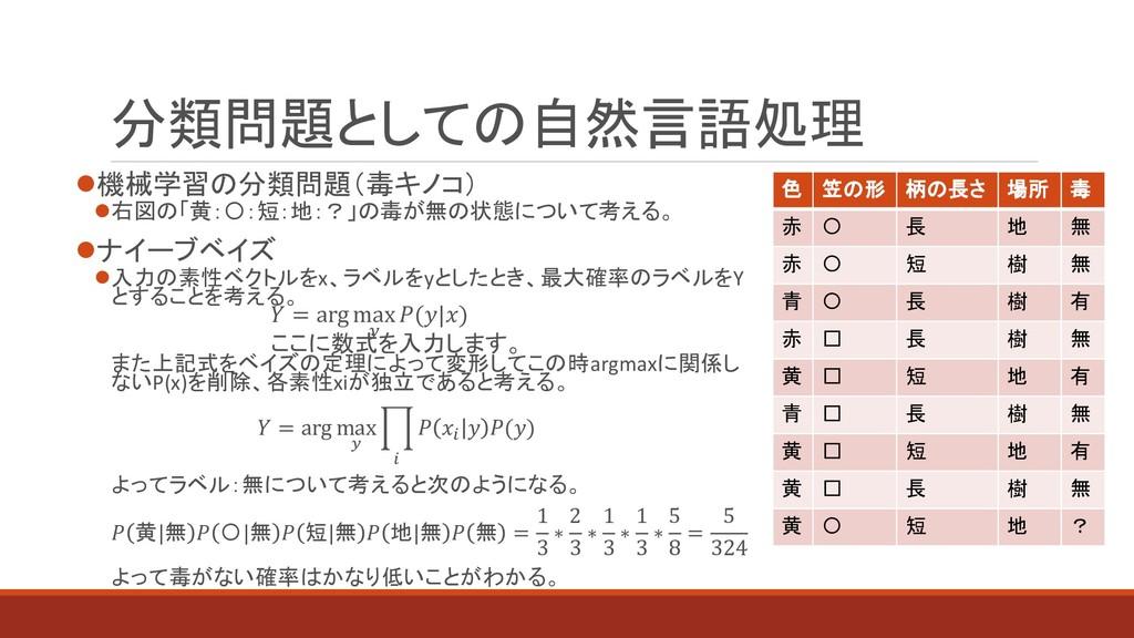 分類問題としての自然言語処理 機械学習の分類問題(毒キノコ) 右図の「黄:〇:短:地:?」...