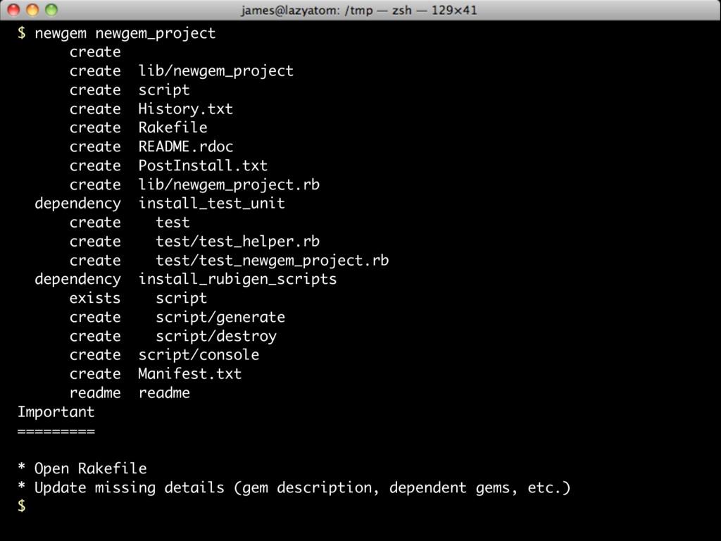 $ newgem newgem_project create create lib/newge...