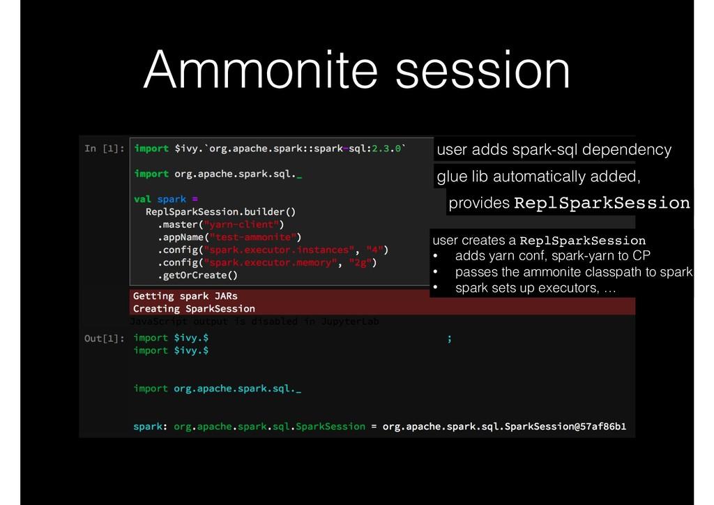 Ammonite session user adds spark-sql dependency...