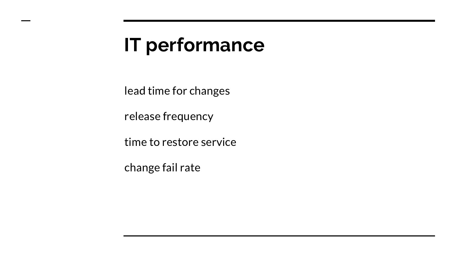 IT performance lead time for changes release fr...