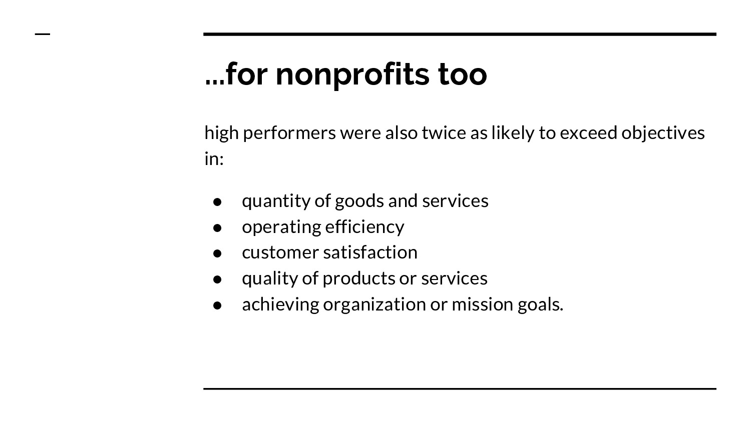 ...for nonprofits too high performers were also...