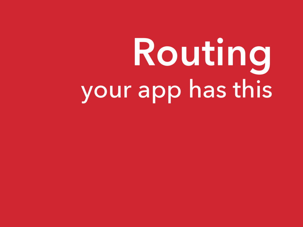 Routing your app has this