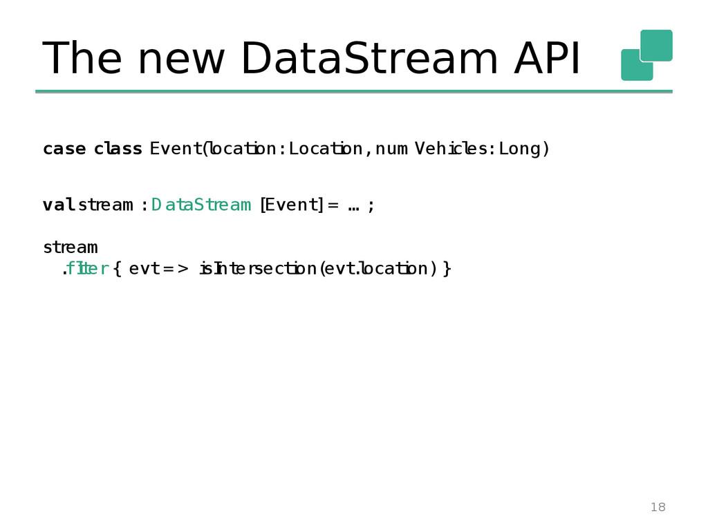The new DataStream API 18 case cl ass Event ( l...