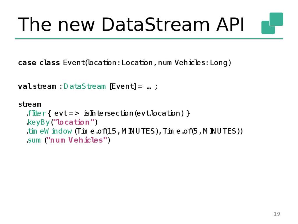 The new DataStream API 19 case cl ass Event ( l...