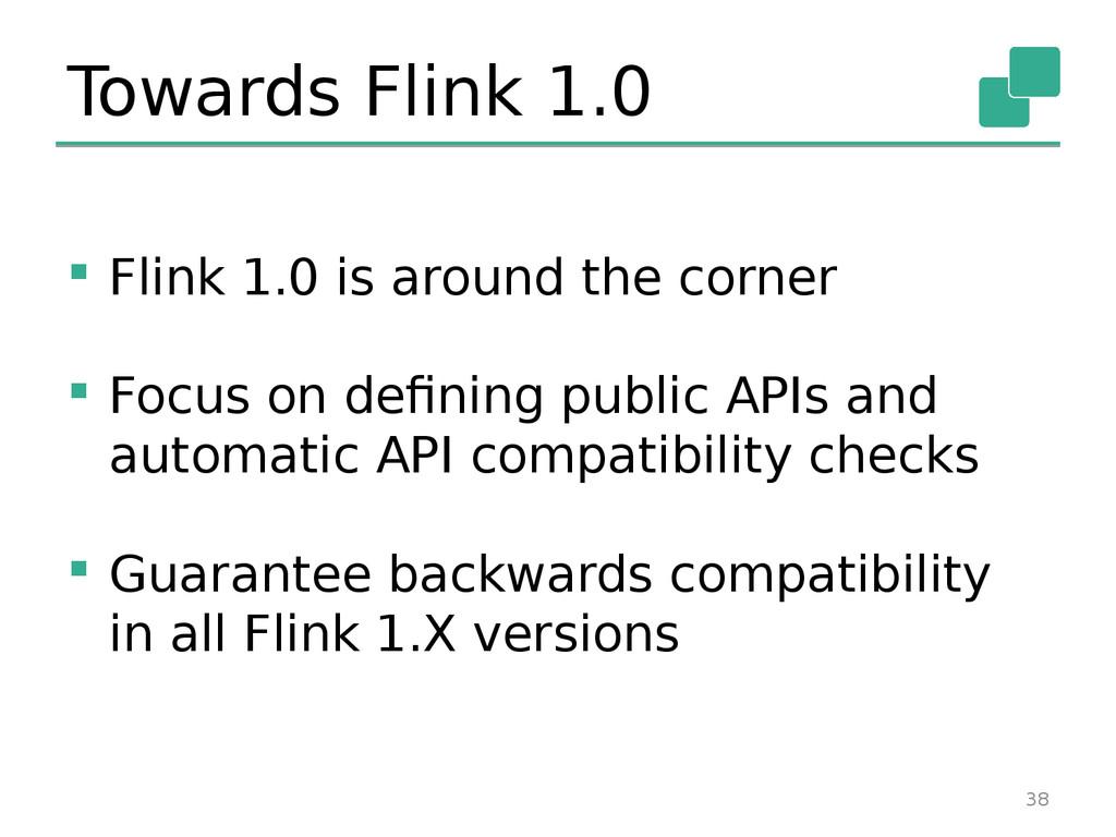 Towards Flink 1.0  Flink 1.0 is around the cor...