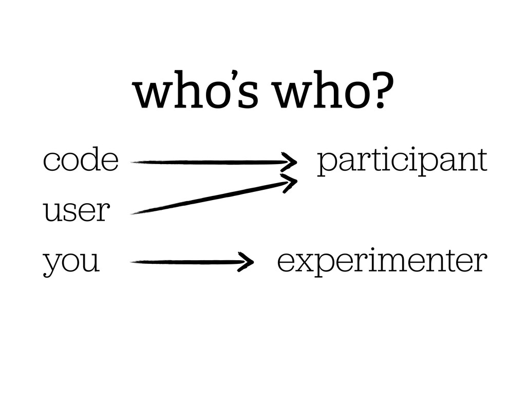 who's who? you code participant experimenter us...