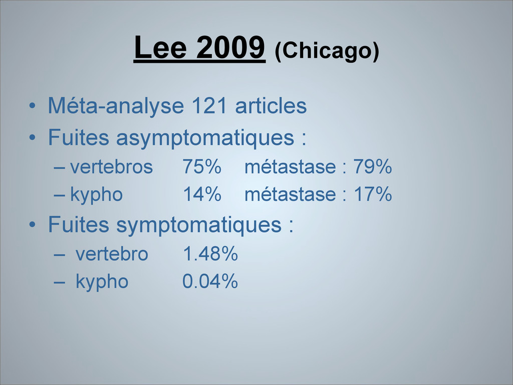 Lee 2009 (Chicago) • Méta-analyse 121 articles ...