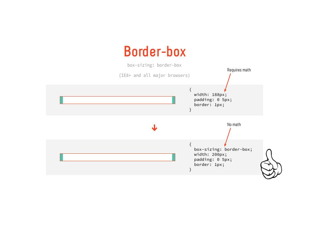 Border box box-sizing: border-box (IE8+ and all...
