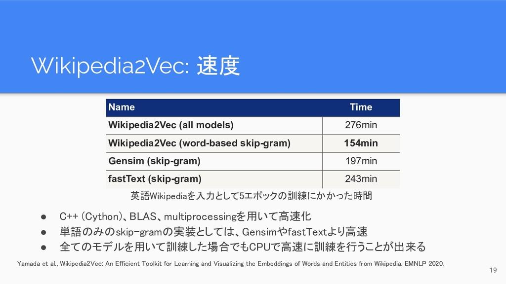 Wikipedia2Vec: 速度 19 Name Time Wikipedia2Vec (...