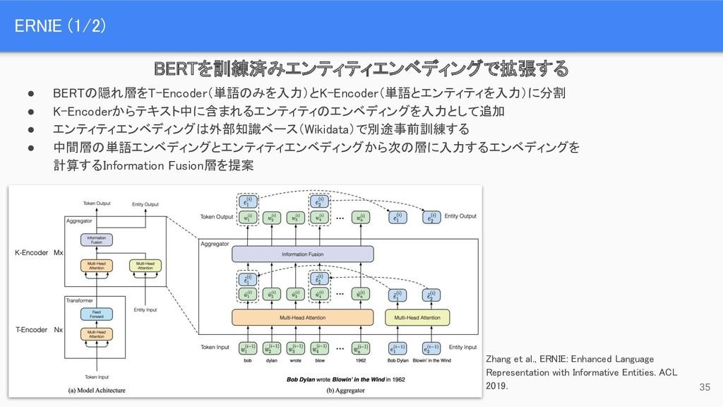 ● BERTの隠れ層をT-Encoder(単語のみを入力)とK-Encoder(単語とエンティ...