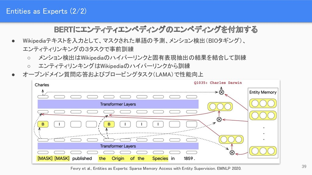 Entities as Experts (2/2) 39 BERTにエンティティエンベディン...