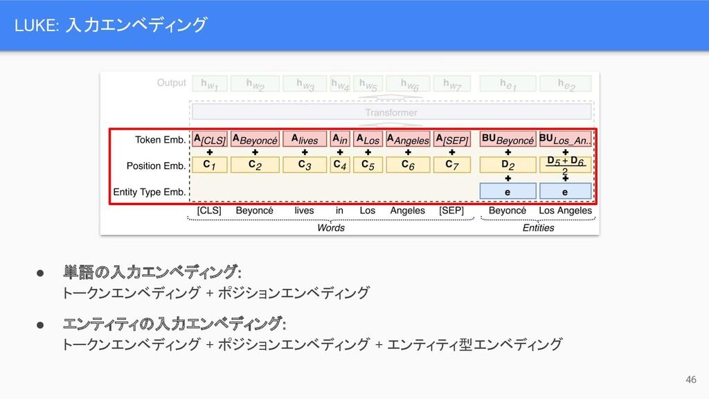 ● 単語の入力エンベディング:  トークンエンベディング + ポジションエンベディング ●...