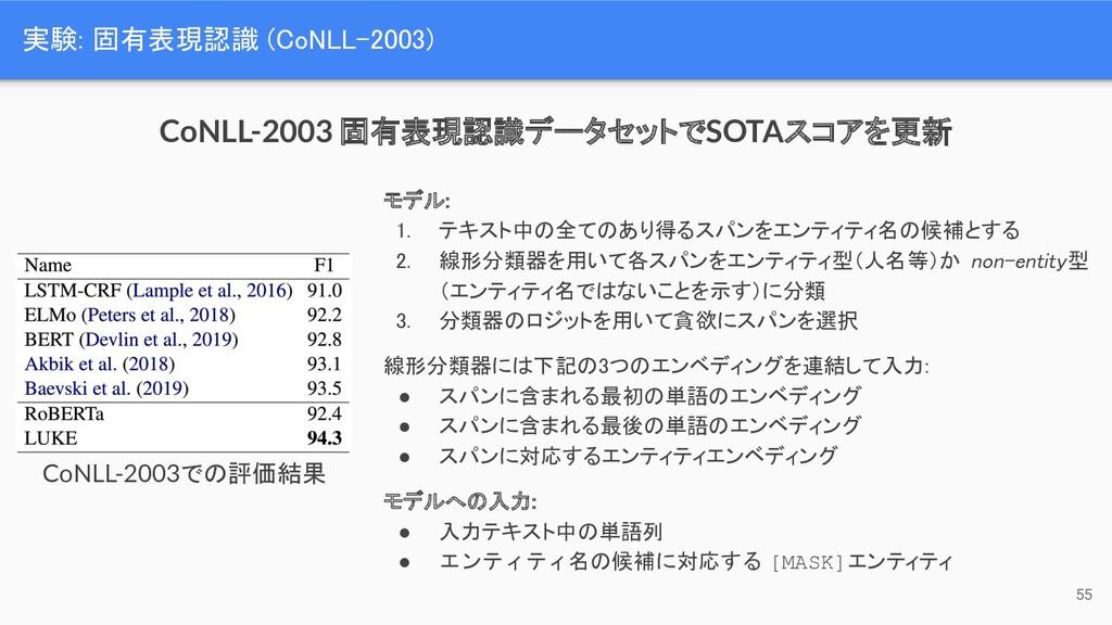 実験: 固有表現認識 (CoNLL-2003) 55 モデル: 1. テキスト中の全てのあ...