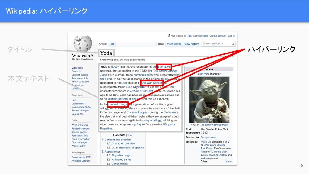 Wikipedia: ハイパーリンク 8 タイトル 本文テキスト ハイパーリンク