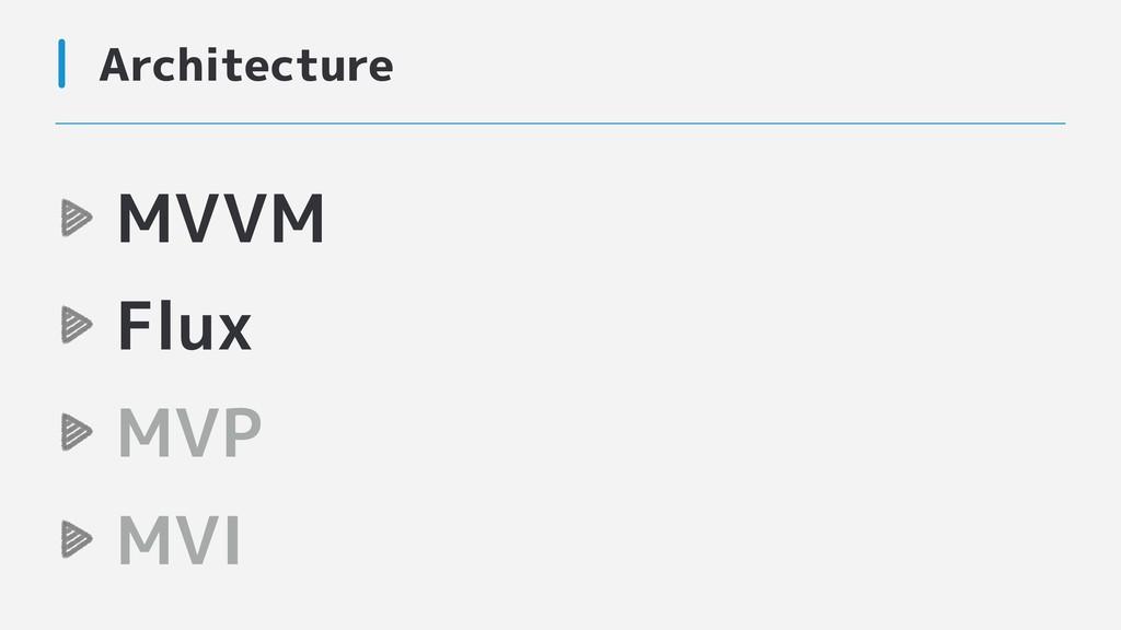 Architecture MVVM Flux MVP MVI