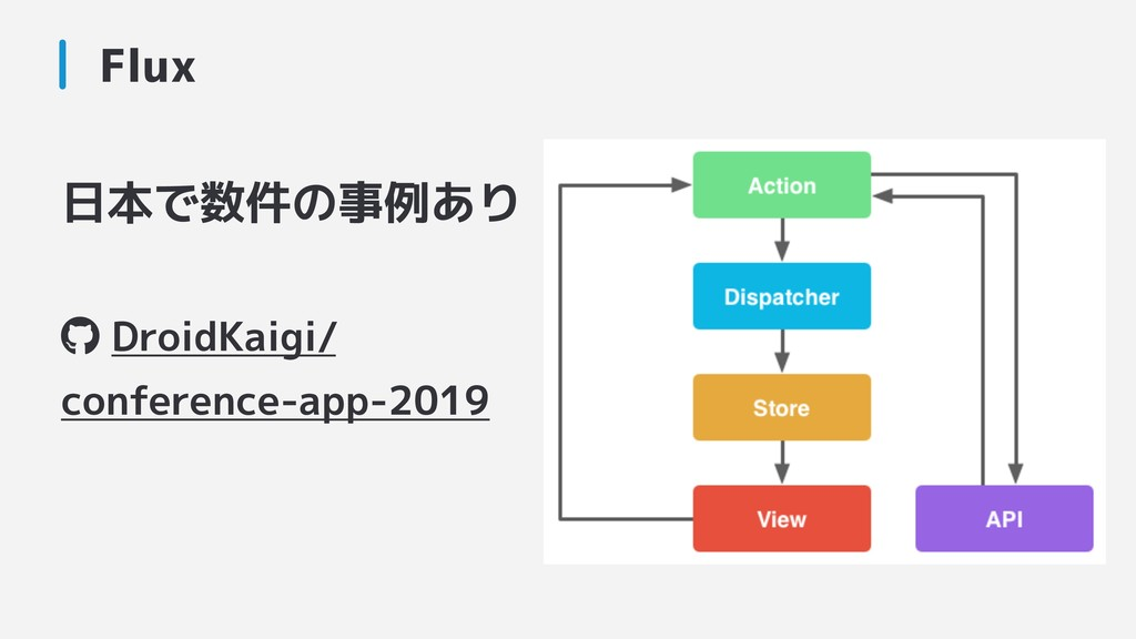 日本で数件の事例あり DroidKaigi/ conference-app-2019 Flux