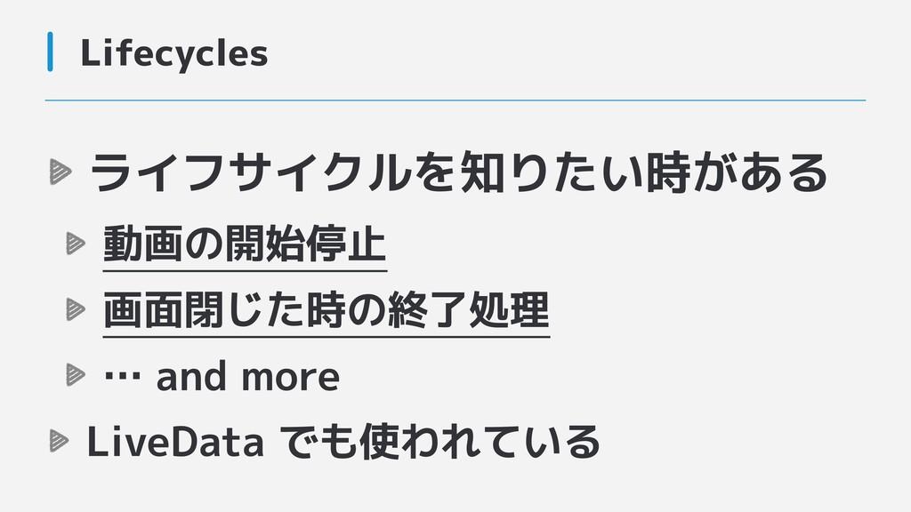 Lifecycles ライフサイクルを知りたい時がある 動画の開始停止 画面閉じた時の終了処理...