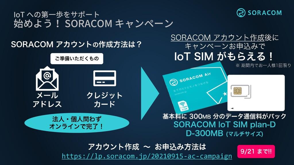 IoT への第一歩をサポート 始めよう! SORACOM キャンペーン https://lp....
