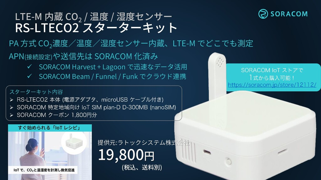 LTE-M 内蔵 CO 2 / 温度 / 湿度センサー RS-LTECO2 スターターキット ...