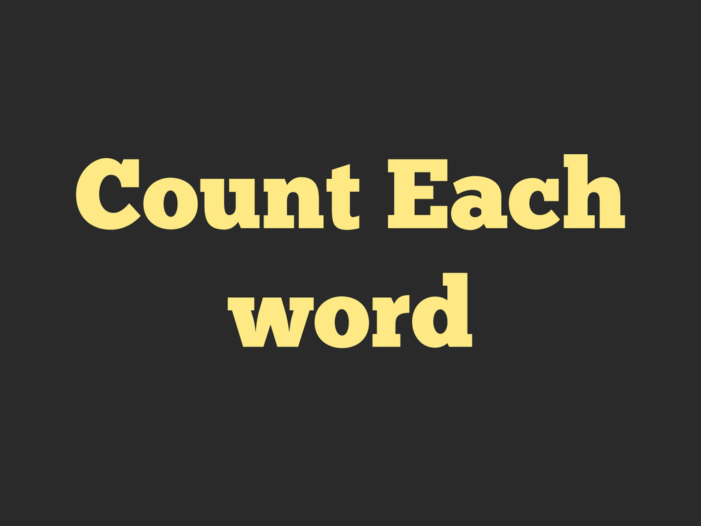 Count Each word