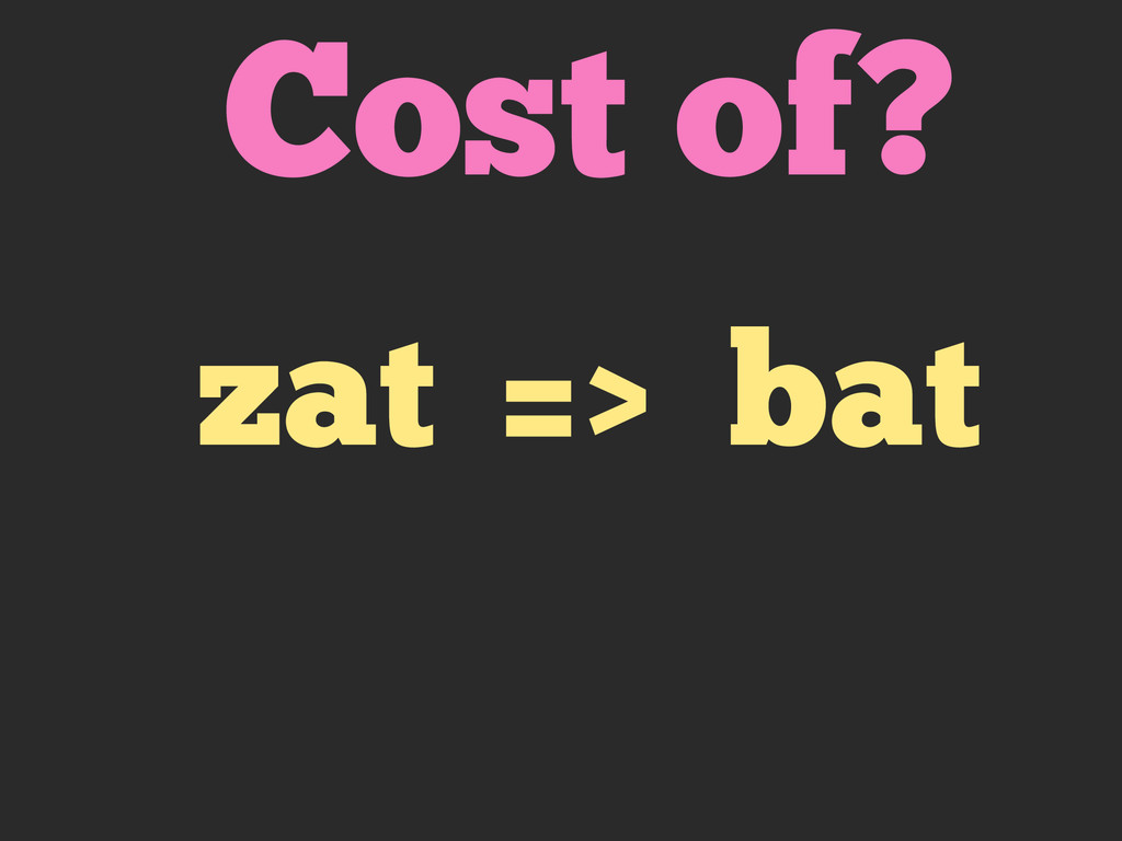 Cost of? zat => bat
