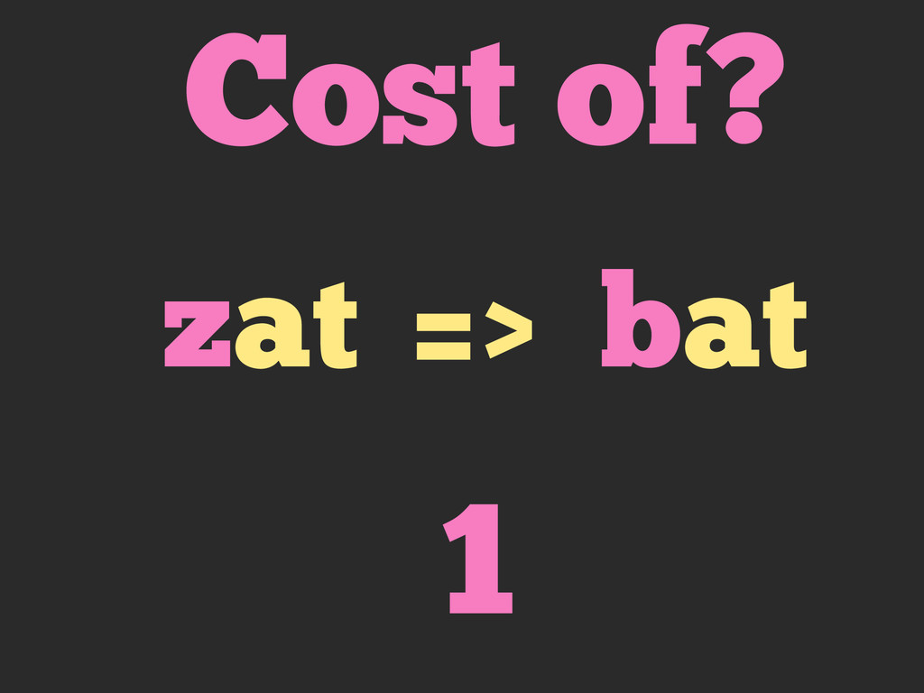 Cost of? zat => bat 1