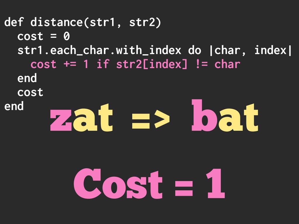 def distance(str1, str2) cost = 0 str1.each_cha...