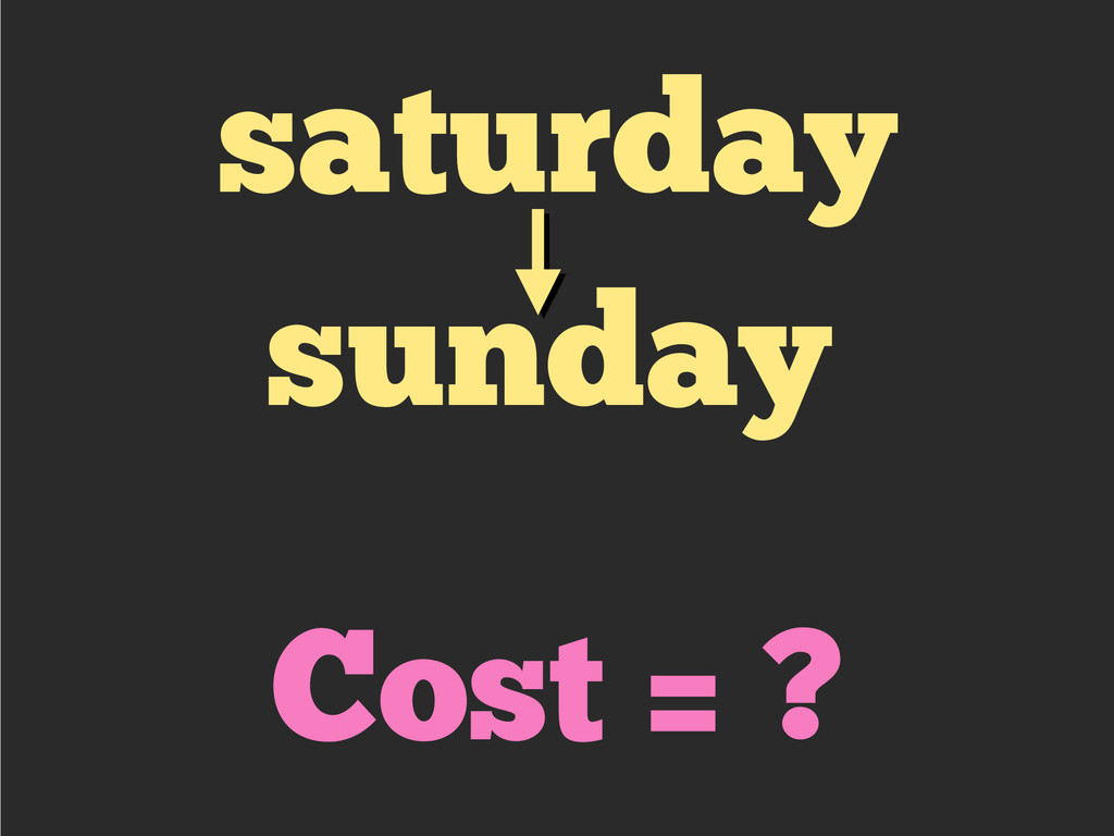 saturday sunday Cost = ?