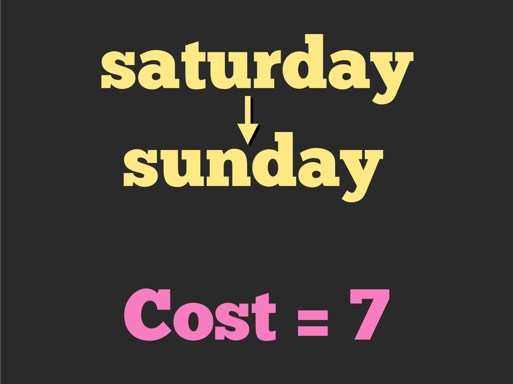 saturday sunday Cost = 7