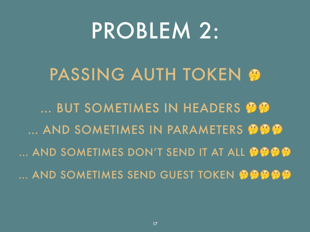 PROBLEM 2: PASSING AUTH TOKEN  … BUT SOMETIMES ...