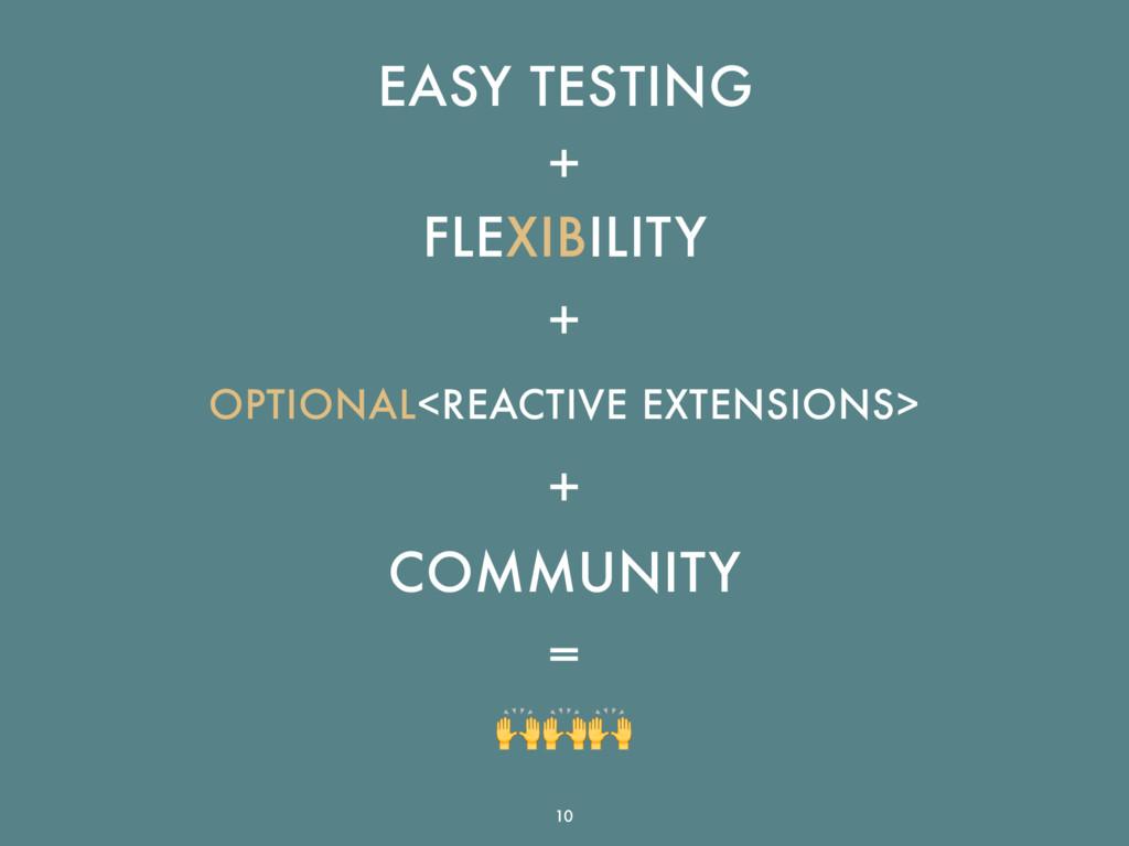 EASY TESTING + FLEXIBILITY + OPTIONAL<REACTIVE ...