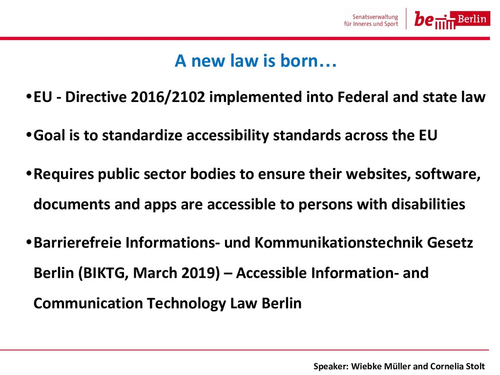 •EU - Directive 2016/2102 implemented into Fede...