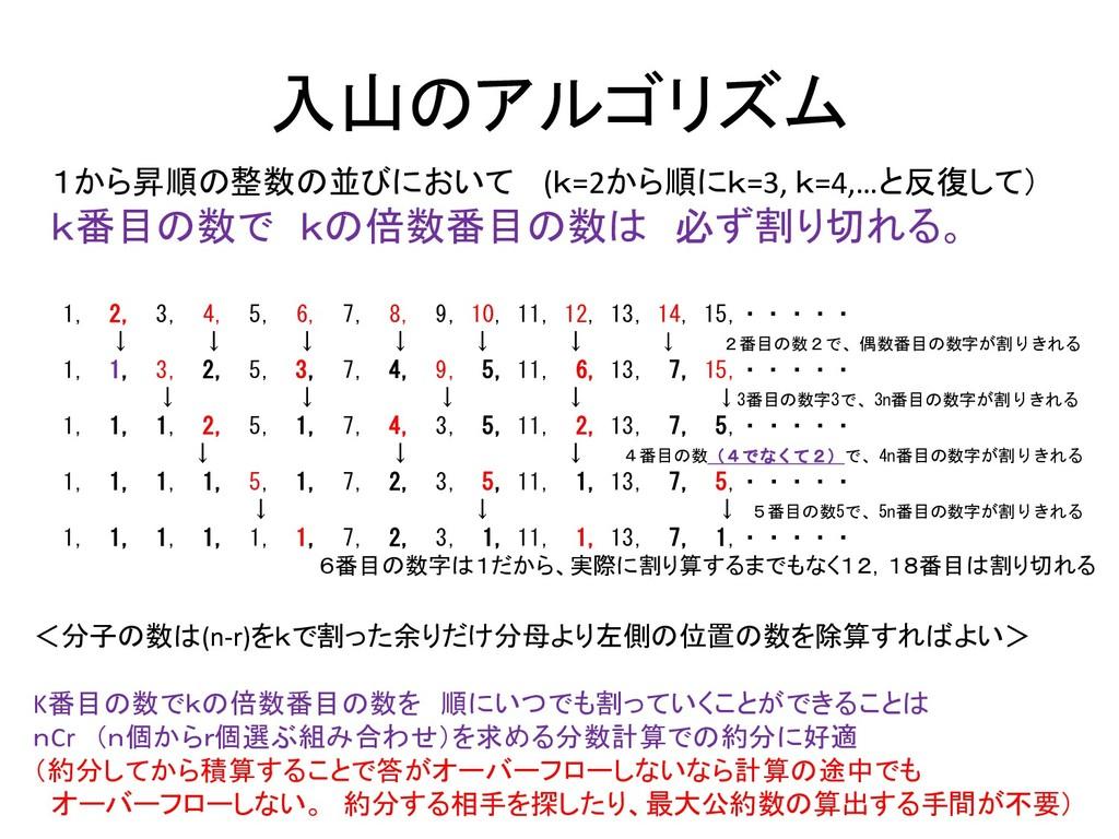 入山のアルゴリズム 1から昇順の整数の並びにおいて (k=2から順にk=3, k=4,…と反復...