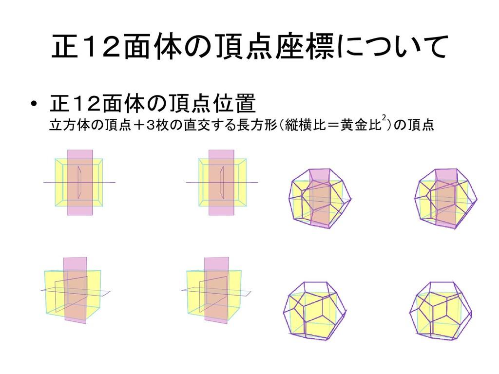 正12面体の頂点座標について • 正12面体の頂点位置 立方体の頂点+3枚の直交する長方形(縦...