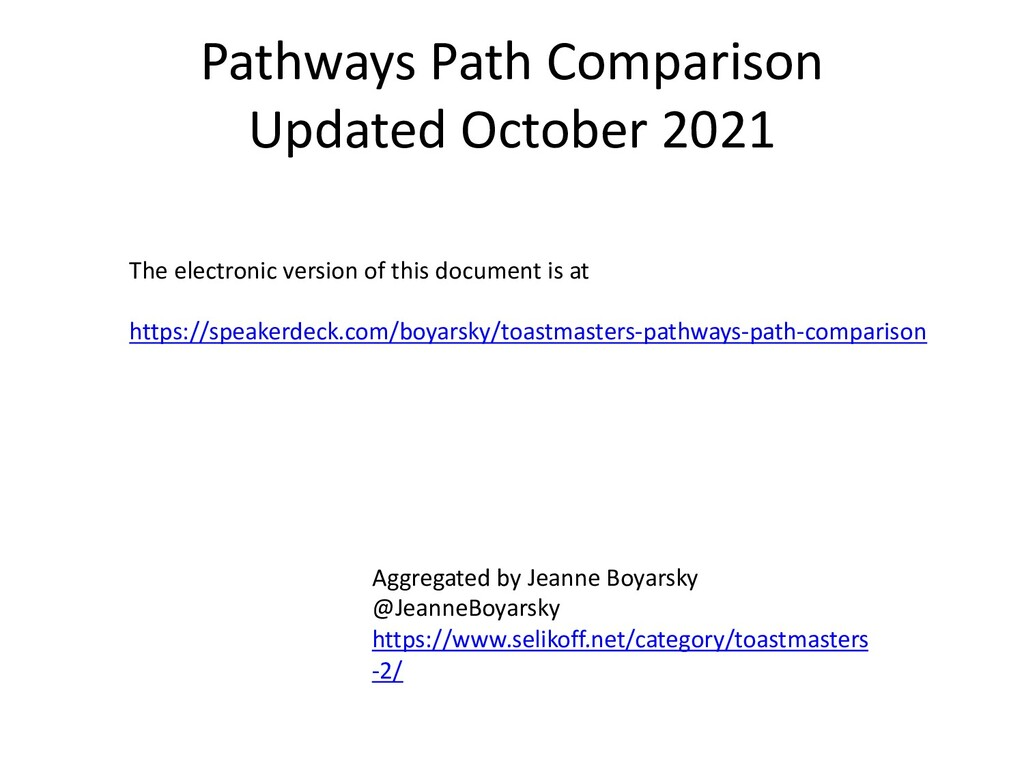 Pathways Path Comparison The electronic version...